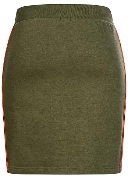Sublevel Damen Midi Sweat Rock Kontraststreifen seitlich mit Ripp-Bündchen ivy oliv grün