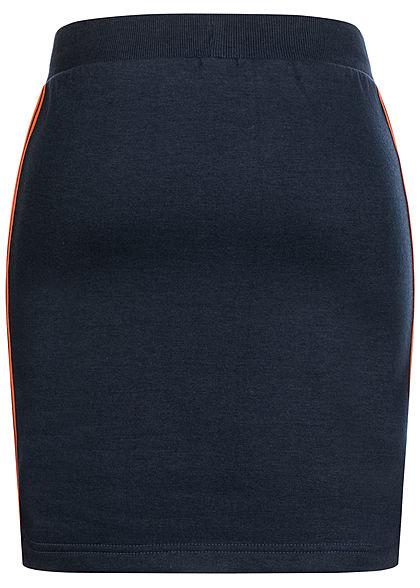 Sublevel Damen Midi Sweat Rock Kontraststreifen seitlich mit Ripp-Bündchen night navy blau
