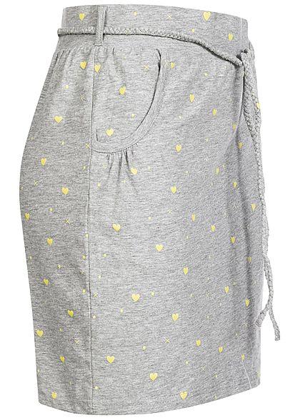 Fresh Made Damen Mini Jersey Rock 2-Pockets inkl. Gürtel Herzen Print medium grau mel.