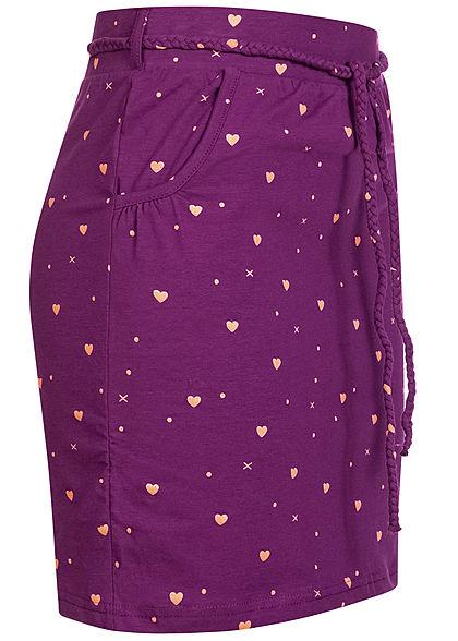 Fresh Made Damen Mini Jersey Rock 2-Pockets inkl. Gürtel Herzen Print grape juice lila