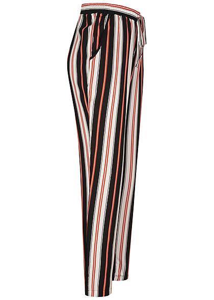 Hailys Damen Sommer Hose 2-Pockets Deko Tunnelzug Streifen Muster schwarz weiss