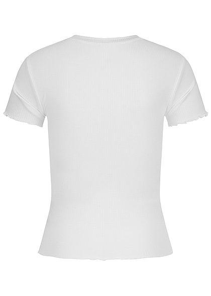 Hailys Damen Ribbed T-Shirt kurzer Schnitt weiss