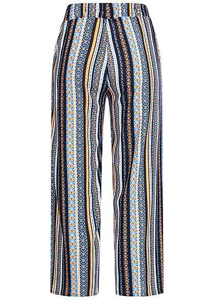 Hailys Damen 3/4 Sommerhose 2-Pockets Allover Print Streifen Muster blau mc
