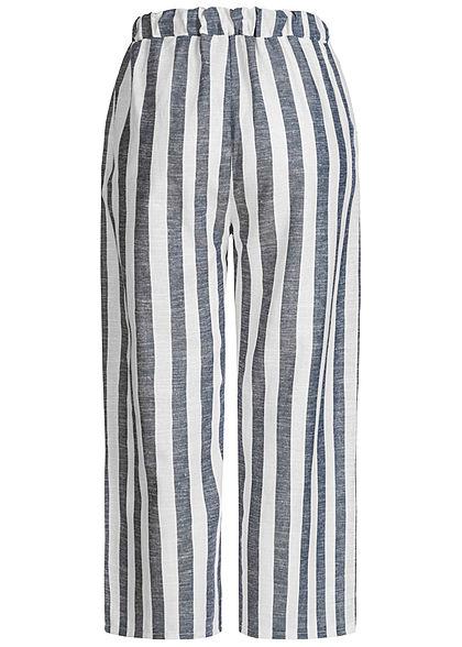 Hailys Damen 3/4 Leinen Sommer Stoffhose 2-Pockets Streifen Muster denim blau weiss