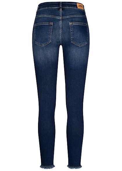 ONLY Damen NOOS Skinny Jeans Hose Fransen 5-Pockets dunkel blau denim