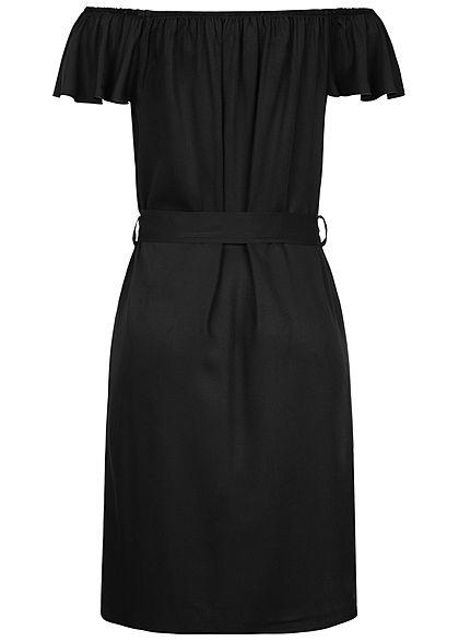 Hailys Damen Off Shoulder Mini Kleid inkl. Bindegürtel Deko Knopfleiste schwarz