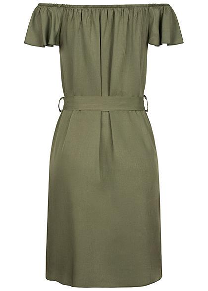 Hailys Damen Off Shoulder Mini Kleid inkl. Bindegürtel Deko Knopfleiste khaki grün