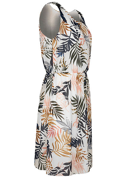 Hailys Damen Mini Kleid Taillengummibund 2-lagig Tropical Print off weiss blau