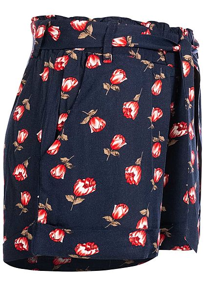 Hailys Damen Viskose Sommer Shorts inkl. Bindegürtel Blumen Muster navy blau rot