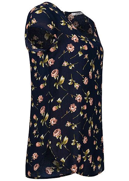 Hailys Damen Blusen Shirt Zipper hinten Rosen Print navy blau