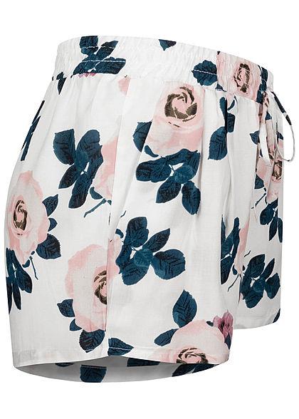 Hailys Damen Viskose Sommer Shorts Deko Tunnelzug Blumen Muster off weiss