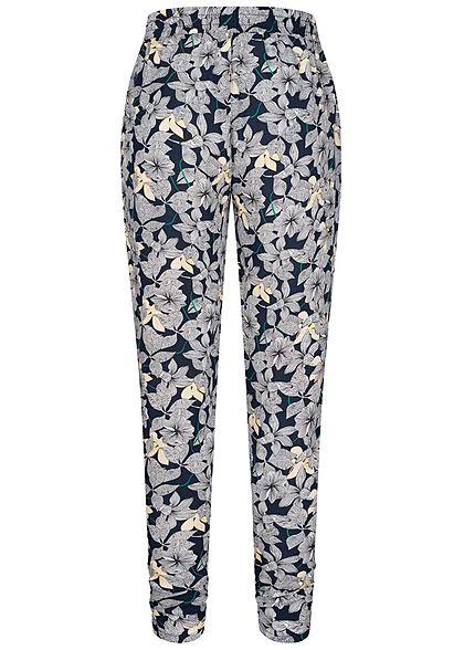 Hailys Damen Viskose Sommer Hose Deko Tunnelzug Blumen Muster navy blau weiss