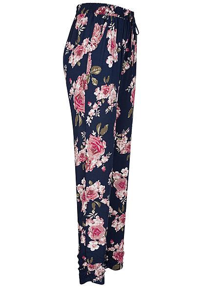 Hailys Damen Viskose Sommer Hose Deko Tunnelzug Blumen Muster navy blau rosa