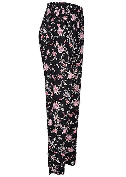 Hailys Damen Viskose Sommer Hose Deko Tunnelzug Blumen Muster schwarz rosa