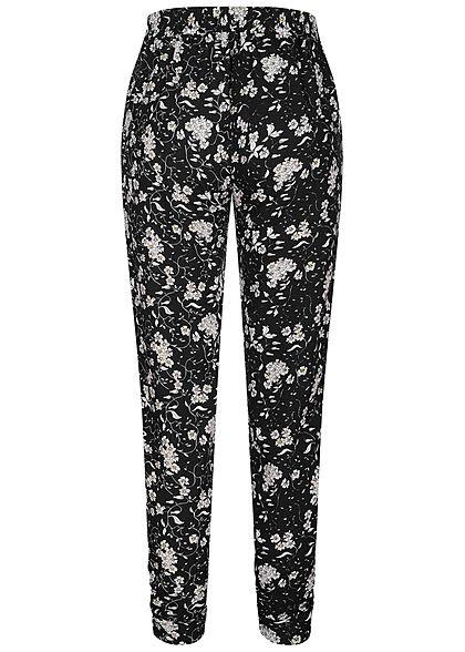 Hailys Damen Viskose Sommer Hose Deko Tunnelzug Blumen Muster schwarz weiss