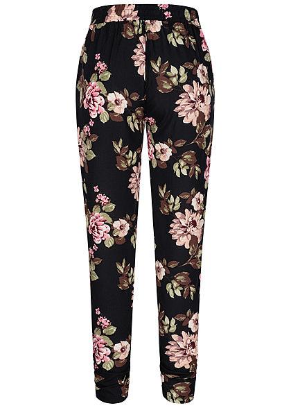 Hailys Damen Viskose Sommer Hose Deko Tunnelzug Blumen Muster schwarz beige