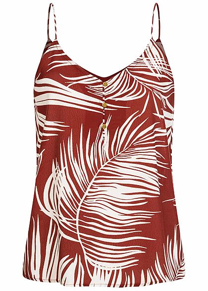 ONLY Damen V-Neck Träger Top Knopfleiste Tropical Print burnt henna braun - Art.-Nr.: 20073430