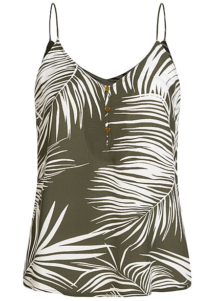 ONLY Damen V-Neck Träger Top Knopfleiste Tropical Print kalamata oliv grün - Art.-Nr.: 20073431