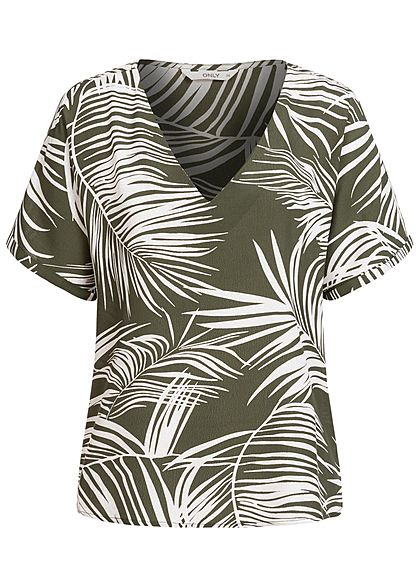 ONLY Damen V-Neck Oversized Blusen Shirt Tropical Print kalamata oliv grün