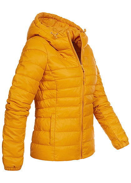 ONLY Damen NOOS leichte Nylon Steppjacke Kapuze 2-Pockets golden gelb