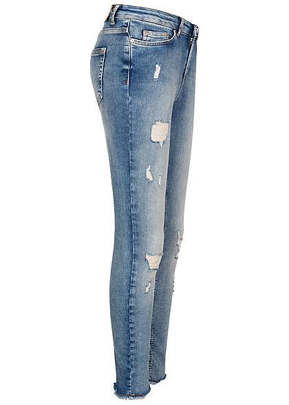 ONLY Damen Skinny Jeans Hose 5-Pockets Fransen Destroy Optik hell blau denim