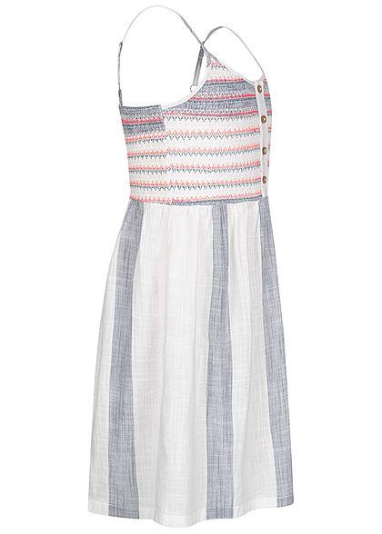 ONLY Kids Mädchen Kleid Leinen Optik Zick Zack Streifen Muster cloud d. weiss