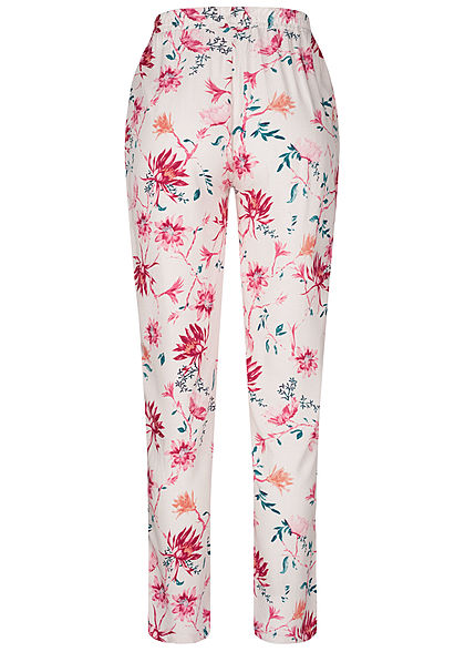 Hailys Damen Sommer Hose 2-Pockets Deko Tunnelzug Blumen Print nude rosa