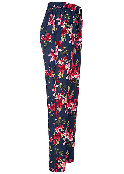 Hailys Damen Sommer Hose 2-Pockets Deko Tunnelzug Floraler Print navy blau pink
