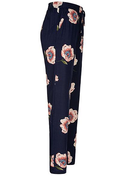 Hailys Damen Sommer Hose 2-Pockets Deko Tunnelzug Blumen Print dunkel navy blau