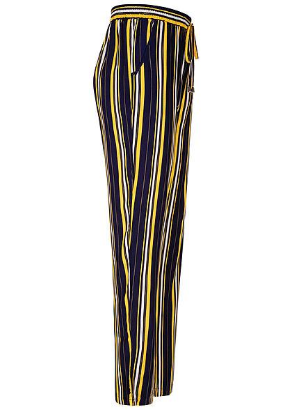 Hailys Damen Sommer Hose 2-Pockets Deko Tunnelzug Streifen Muster navy blau gelb