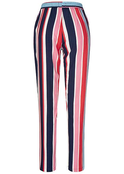 Hailys Damen Sommer Hose 2-Pockets Deko Tunnelzug Streifen Muster multicolor rot
