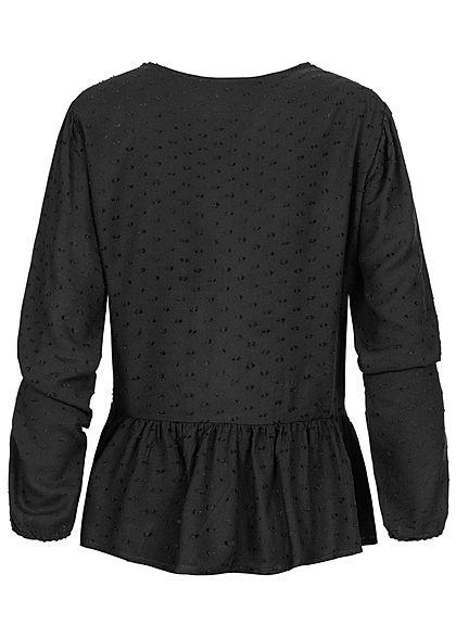 Hailys Damen Blusen Shirt Häkelbesatz Schnürung Deko Knopfleiste schwarz