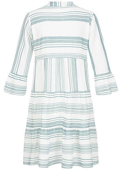 Hailys Damen V-Neck 7/8 Arm Puffer Kleid Streifen Print türkis weiss