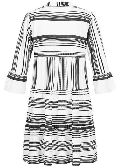 Hailys Damen V-Neck 7/8 Arm Puffer Kleid Streifen Print schwarz weiss