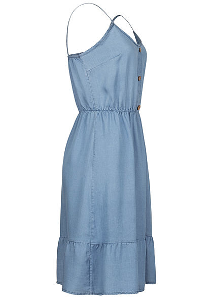 Hailys Damen Mini Kleid Deko Knopfleiste Taillengummibund denim blau