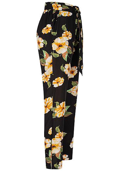 Hailys Damen Paperbag Sommer Hose 2-Pockets Floraler Print Bindegürtel schwarz gelb