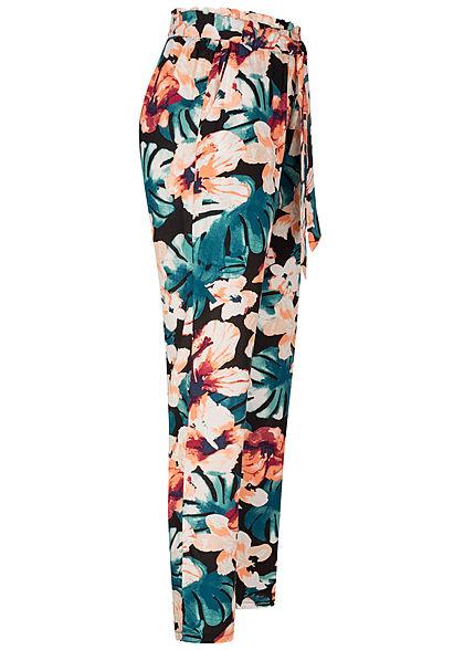 Hailys Damen Paperbag Sommer Hose 2-Pockets Tropical Print Bindegürtel schwarz mc