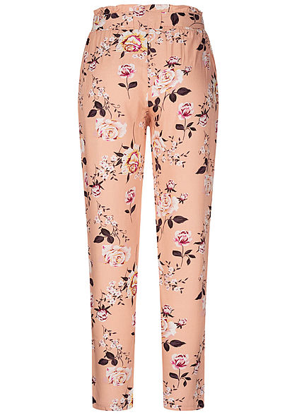 Hailys Damen Paperbag Sommer Hose 2-Pockets Blumen Muster Bindegürtel rosa weiss