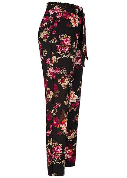 Hailys Damen Paperbag Sommer Hose 2-Pockets Floraler Print Bindegürtel schwarz beige pink