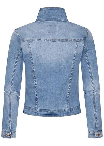 Hailys Damen Jeans Jacke 4-Pockets Knopfleiste hell blau denim