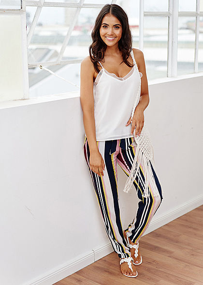 Hailys Damen Paperbag Sommer Hose 2-Pockets Streifen Muster inkl. Bindegürtel multicolor
