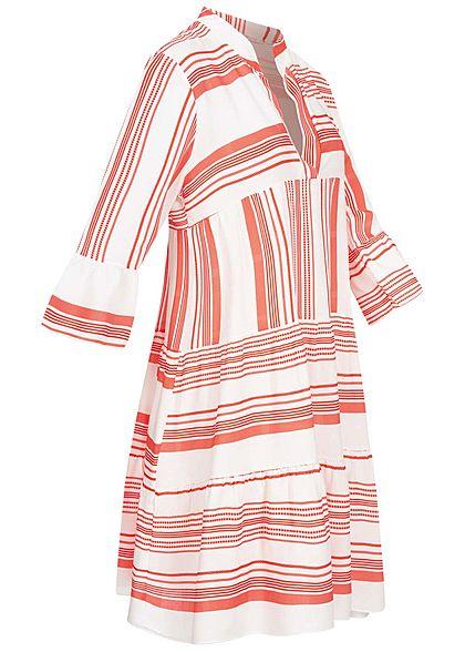 Hailys Damen V-Neck 7/8 Arm Puffer Kleid Streifen Print rot weiss