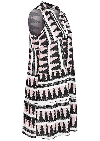 Hailys Damen V-Neck Puffer Kleid Azteken Print rosa weiss