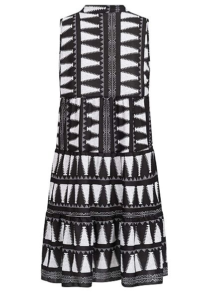 Hailys Damen V-Neck Puffer Kleid Azteken Print schwarz weiss