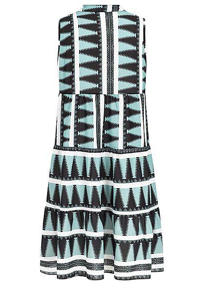 Hailys Damen V-Neck Puffer Kleid Azteken Print jade grün weiss