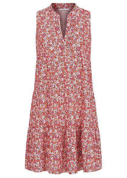 Hailys Damen V Neck Puffer Kleid Blumen Muster Rosa Rot