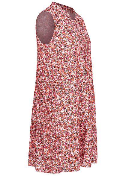 Hailys Damen V-Neck Puffer Kleid Blumen Muster rosa rot