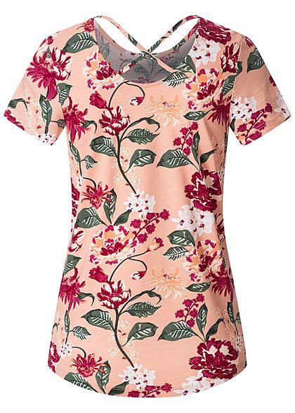 ONLY Damen T-Shirt Kreuzdetail hinten Blumen Muster misty rosa
