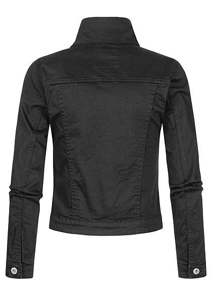 Hailys Damen Jeans Jacke 4-Pockets Knopfleiste schwarz denim