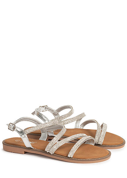 Hailys Damen Schuh Sandale mit Strasssteinen silber
